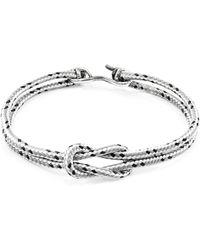 Anchor & Crew - Grey Dash Foyle Silver & Rope Bracelet - Lyst