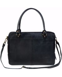 """MAHI - Leather Oxford Zip-up Satchel Briefcase Bag With 15"""" Laptop Capacity In Black - Lyst"""