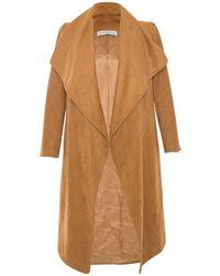 Ellsworth & Ivey - Camel Faux Suede Wrap Jacket - Lyst