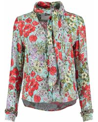 Sachini - Sicilian Bloom Silk Blouse With Embellished Jewels - Lyst