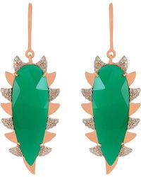 Meghna Jewels - Claw Earrings Green Chalcedony & Diamonds - Lyst