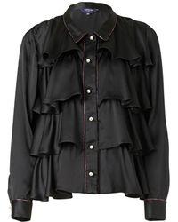 Supersweet x Moumi - Black Silk Tiered Shirt - Lyst