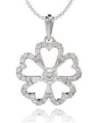 Kaizarin - Diamond Studded Flower Pendant In White Gold - Lyst