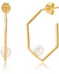 Neola - Minerva Gold Earrings With White Pearl - Lyst