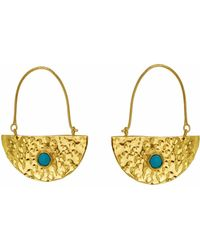Yvonne Henderson Jewellery - Gold Semi Circle Boho Drop Earrings With Turquoise - Lyst