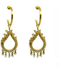 Annabelle Lucilla Jewellery - Sikhara Charm Pearl Hoops Gold - Lyst