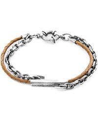 Anchor & Crew - Light Brown Belfast Silver & Braided Leather Bracelet - Lyst