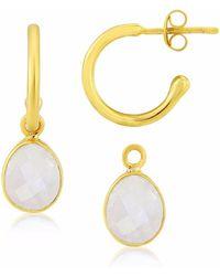 Auree Jewellery | Manhattan Gold & Fuchsia Chalcedony Interchangeable Gemstone Earrings | Lyst