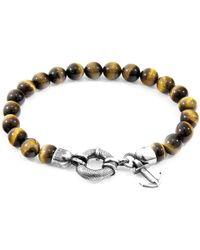 Anchor & Crew - Brown Tigers Eye Port Silver & Stone Bracelet - Lyst