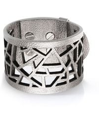 Ona Chan Jewelry | Leather Lattice Cuff Silver | Lyst