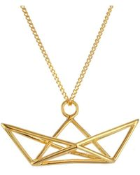 Origami Jewellery - Sterling Silver & Gold Frame Boat Origami Necklace - Lyst