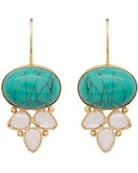 Carousel Jewels | Turquoise & Crystal Drop Earrings | Lyst