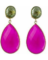 Carousel Jewels - Double Drop Peridot & Fuchsia Chalcedony Earrings - Lyst