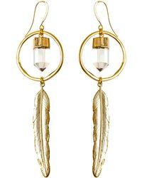 Tiana Jewel - Feather Canyon Clear Quartz Hoop Earrings - Lyst