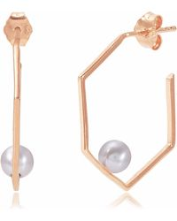 Neola - Minerva Rose Gold Earrings With Grey Pearl - Lyst