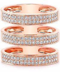 Anne Sisteron Rose Gold Diamond Large Triple Bar Ring