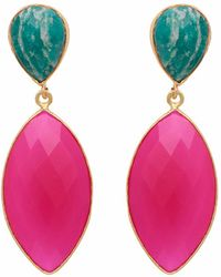 Carousel Jewels | Amazonite & Fuchsia Chalcedony Double Drop Long Earrings | Lyst
