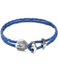 Anchor & Crew - Royal Blue Delta Silver & Braided Leather Bracelet - Lyst