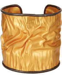 Carousel Jewels - Adjustable Crumpled Gold Cuff With Silver Border - Lyst