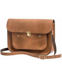 N'damus London - Vintage Tan Leather 13 Inches Pocket Satchel - Lyst