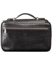 Maxwell Scott Bags - Luxury Italian Leather Women's Zip Around Toiletry Bag Cascina Black - Lyst