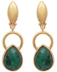 Carousel Jewels - Gold Ring & Teardrop Dyed Emerald Earrings - Lyst