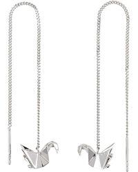Origami Jewellery - Swan Silver Chain Earrings - Lyst