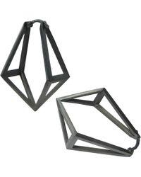 Stephanie Bates - Oxidised Silver Kite Hoop Earrings - Lyst