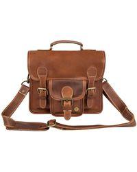 MAHI - Mini Leather Harvard Satchel Messenger Bag Handbag Clutch Bag In Vintage Brown - Lyst