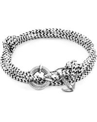 Anchor & Crew - White Noir Clyde Anchor Silver & Rope Bracelet - Lyst