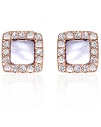 Ri Noor - Square Mother Of Pearl & Diamond Earrings - Lyst