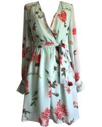 LEFON New York - Flower Print Mint Short Dress - Lyst