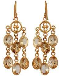 Carousel Jewels - Elegant Gold & Citrine Dangle Earrings - Lyst