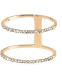 Talia Naomi - Double Band Diamond Ring - Lyst