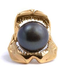 Lee Renee - Shark Jawbone Tie Pin Pearl & Gold - Lyst