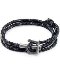 Anchor & Crew - Black Union Anchor Silver & Rope Bracelet - Lyst