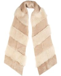 Gushlow and Cole - Cream Shearling Chevron Scarf - Lyst