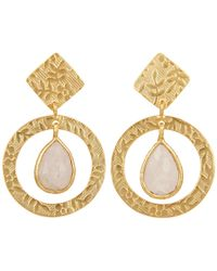 Carousel Jewels - Delicate Engraved Gold & Moonstone Drop Earrings - Lyst