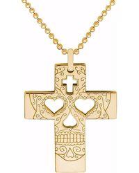 CarterGore - Gold Sugar Skull Cross Pendant Necklace - Lyst