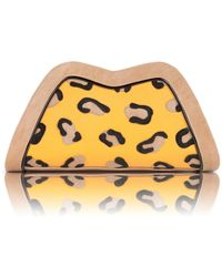 Feather M - Tuesday Yellow Leopard Print Applique - Lyst