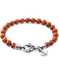 Anchor & Crew - Red Jasper Port Silver & Stone Bracelet - Lyst