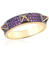Artisan - 18k Gold Spike Ring With Pave Amethyst - Lyst