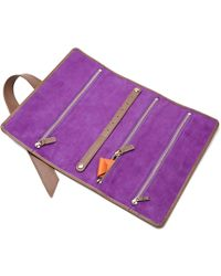 Stow - Soft Leather Gertrude Travel Jewellery Roll Jasper Brown - Lyst