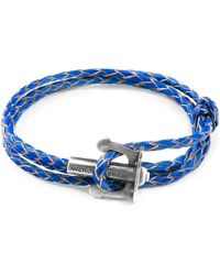 Anchor & Crew - Royal Blue Union Anchor Silver & Braided Leather Bracelet - Lyst