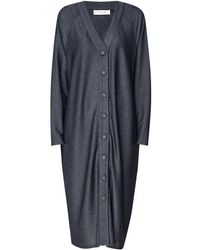 Paisie - Cardigan Dress With Faux Leather Buckle Belt In Black - Lyst