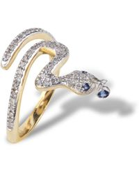 Nayla Arida - Snake Phalanx Ring Yellow Gold White Diamond Blue Sapphire - Lyst
