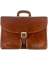 Maxwell Scott Bags | Luxury Italian Leather Men's Briefcase Tomacelli Chestnut Tan | Lyst
