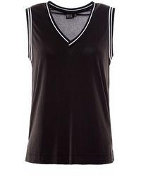 OKAYLA - Black Striped Rib Sports Vest - Lyst
