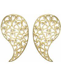 Sonal Bhaskaran - Jaali Gold Earrings Clear Cz - Lyst