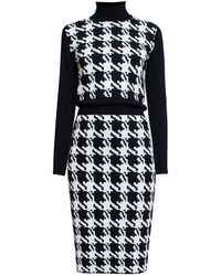 Rumour London - Lina Houndstooth Merino Wool Dress - Lyst